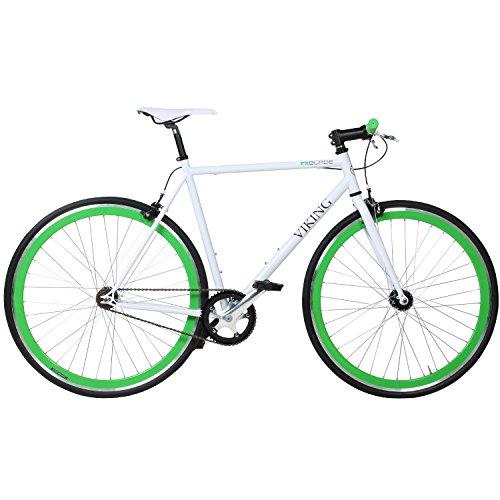28-Fixie-Singlespeed-Bike-Viking-Blade-5-Farben-zur-Auswahl-Farbe-Weiss-Grn-Rahmengrsse-53-cm