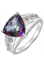 Trillion 10.00mm Mystic Topaz and Round 1.20mm White Diamond Ring in 925 Sterling Silver - Ring Size 5.75