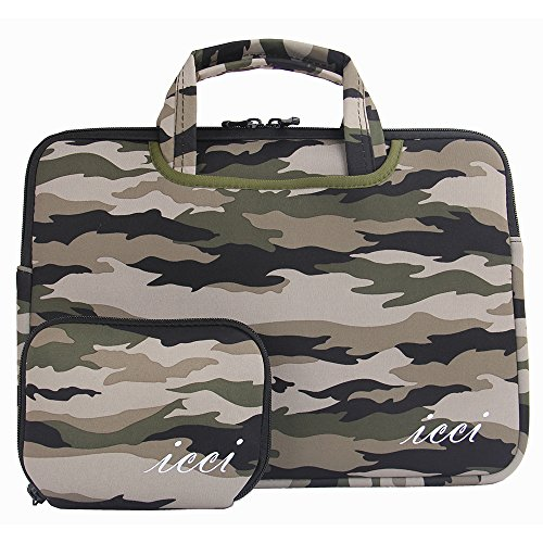 icci ShockProof Custodia Borsa con tasche accessorie Per PC portatili 35,8 cm (14 Pollici) Netbook / Laptop / Notebook Computer / Chromebook - Camouflage