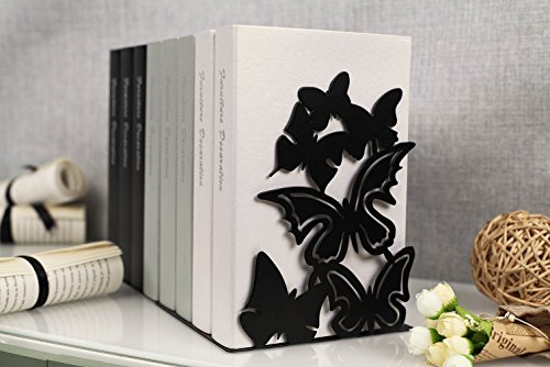 Unique Metal Bookends - Butterfly Book Ends - Decorative Bookend for cookbooks, home office on the desk (Black)