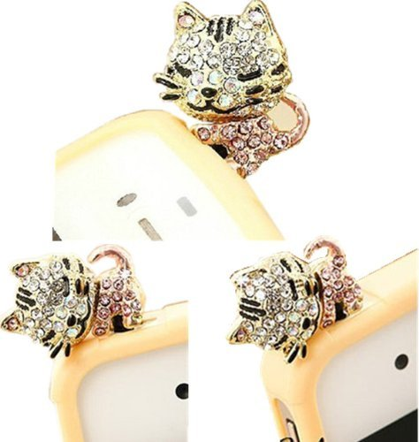 Vandot 3D Cute Cat Crystal Anti Dust Plug Bling Earphone Jack Glitter Diamond Tail Rhinestone Headphone Port Stopper Caps For Various Devices Which Have 3.5Mm Headphone Ports Including Iphone 3 3G 3Gs 4 4Gs 4S/Ipad 1 2 3 /Iapd Mini/ Samsung Galaxy Tab 10.