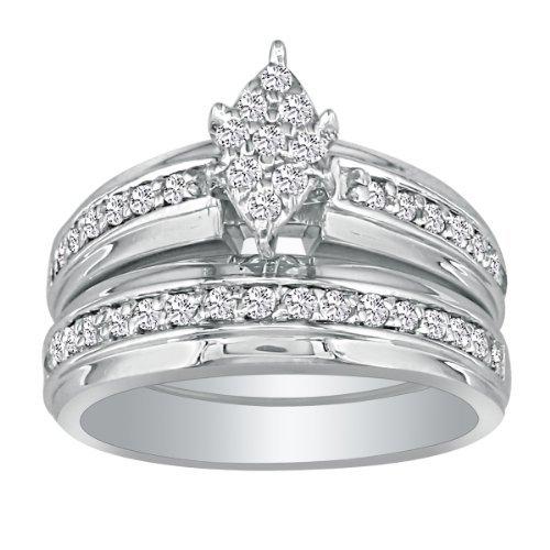 SuperJeweler 1/2 Carat Marquise and Diamond Bridal Set in 10k White Gold