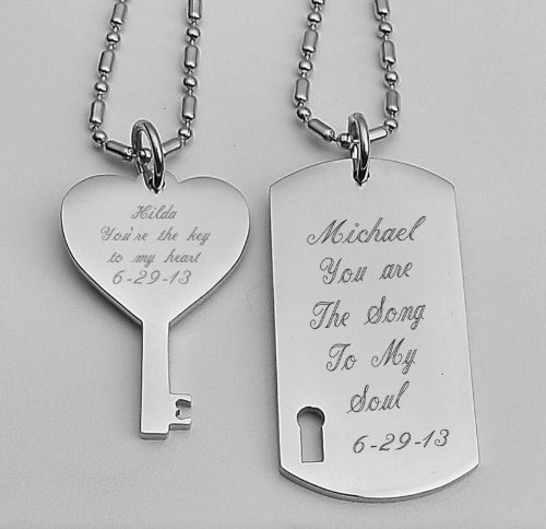 Personalized Stainless Dog Tag & Key Necklace Set (Personalized Dog Tags For Couples compare prices)