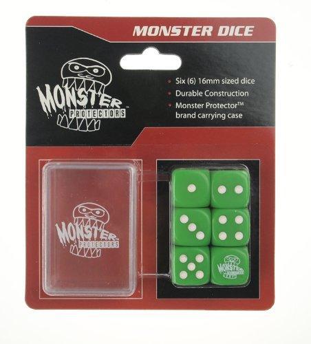 Dice - Monster Protectors Set of 6 D6 Logo Die with Pocket Carrying Case (Green)