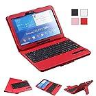 NEWSTYLE Samsung Galaxy Tab 4 10.1 Inch Bluetooth Keyboard Portfolio Case Wireless Detachable Bluetooth Keyboard Stand Case Cover for Samsung Galaxy tab 4 10.1 Inch Tablet SM-T530 / T531 / T535 - Red Color