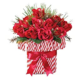 Fiber Optic Holiday Candy Cane Roses Bouquet