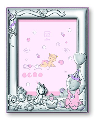 "Silver Touch USA Sterling Silver Girl Celebration Picture Frame with Booklet, Pink, 5"" x 7"" - 1"
