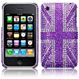 iPhone 3GS / 3G Purple Union Jack Diamante Case / Cover / Shell / Shield Part Of The Qubits Accessories Rangeby Qubits