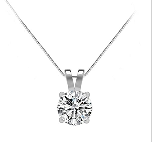 Cubic-Zirconia-Sterling-Silver-Solitaire-Pendant-1-50-Carat-7-5-Mm-Round-Brilliant-Cut-Stone-Includes-16-Inch-Sterling-Silver-Box-Chain