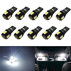 JDM ASTAR 10pcs Super Bright 5630 SMD 194 168 2825 W5W T10 LED Bulbs,Xenon White(Best Value in the market)
