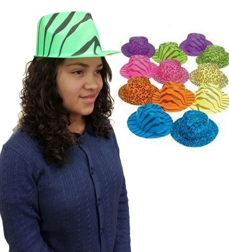 A Dozen Plastic Neon Animal Print Gangster Hats - Set Of Dozen Animal Print Gangster Hats In Assorted Colors
