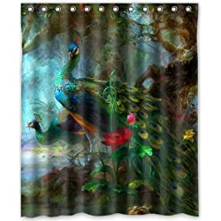 "Outlet-Seller Custom Charming Peacocks in the Jungle Waterproof Bathroom Fabric Shower Curtain 60"" x 72"""