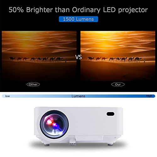 1500 Lumens LED Video Projector w Free HDMI, DBPOWER Mini Projector Multimedia Home Theater Projector 150 Support 1080P HD HDMI VGA AV USB for Home Cinema TV Laptop Game SD Video iPhone Smartphone