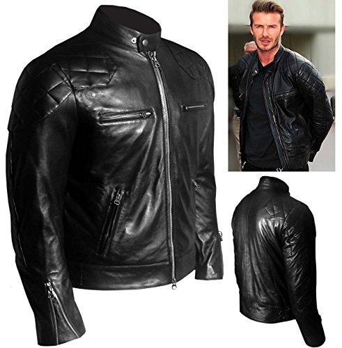 David Beckham, colore: nero, stile Vintage, in vera pelle Giacca sottile BNWT _ nero XL