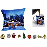 MeSleep Merry Christmas Cushion Cover In Digital Print, Mug And Christmas Decoration Combo - B018KARJB4