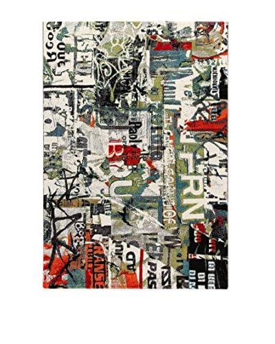 ABC Tappeti Alfombra Metropolitan Street Art Verde/Blanco/Multicolor 133 x 190 cm
