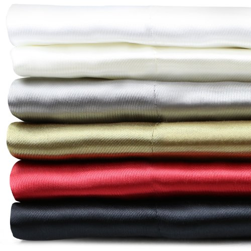 Silky Soft Satin Sheet Set - Fits Mattresses Up To 18 Inches - Queen - Gold