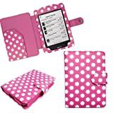Xtra-Funky Exclusive Polka Dot PU Leather Book Wallet Style Case for Kobo Touch eReader - HOT PINK