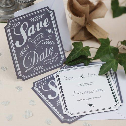 Ginger Ray Vintage Chalk Effect Save The Date Cards For A Wedding Or Party X 10 wth Envelopes