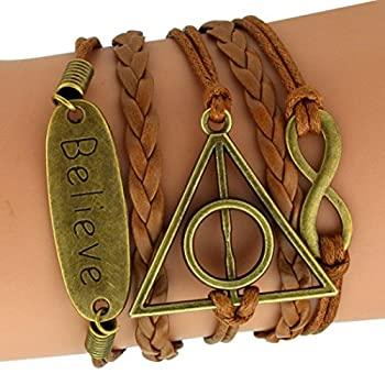 Time Pawnshop Bronze Deathly Hallows Believe Multilayer Unique Adjustable Braided Leather Bracelet from Time Pawnshop