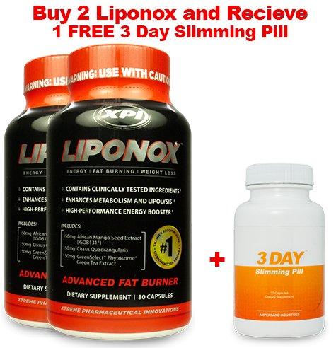 Liponox 2 Pack and 1 Free 3DSP - Weight Loss Diet Pill Appetite Suppressant Fat Burner Antioxidant Pill