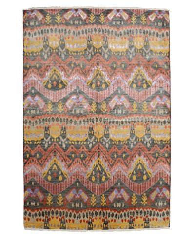 Darya Rugs Ikat Oriental Rug, Pink, 6′ 1″ x 9′ 1″