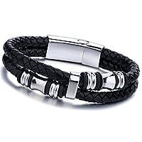 Jstyle[ジェイスタイル] ブラック メンズ レザー ブレスレット 腕輪 ファッション アクセサリー 格好いい ブレスレット ステンレス製