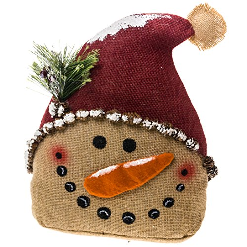 Burlap snowman door stop home decor for Snowman made out of burlap