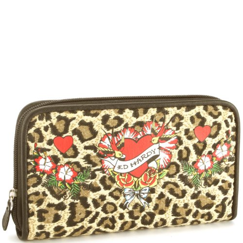Ed Hardy Kim Flower Girl Zip Around Wallet - Leopard