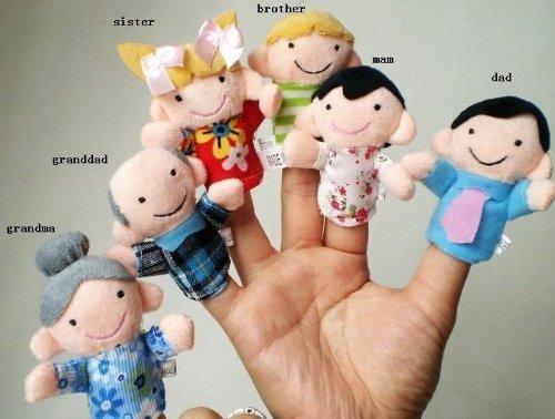 Qiyun-6-Pc-Soft-Plush-My-family-Finger-Puppet-Set-Includes-Grandma-Granddad-Sister-Brother-Mom-Dad