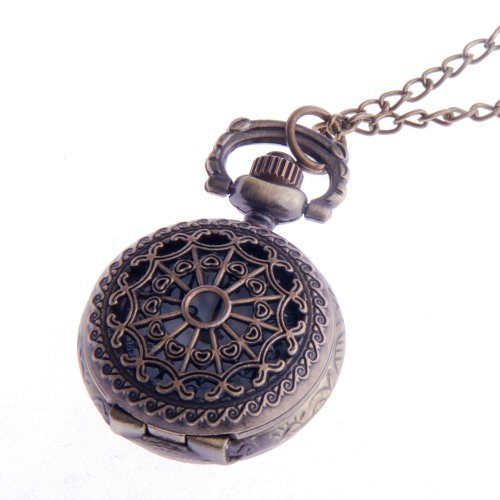 Ladies Pendant Pocket Watch Quartz With Chain Filigree Pattern Small Face White Dial Vintage Necklace Design PW-53