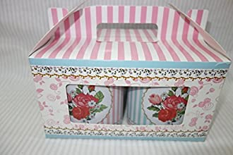 Attractive Small Cookie Storage Tins Shabby Chic Floral Designed Set of 4