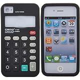 Iprotect ORIGINAL APPLE IPHONE 4 / 4S TASCHENRECHNER STYLE RETRO SILIKONHÜLLE MIT KNÖPFEN IN SCHWARZ // CASE TASCHE HÜLLE