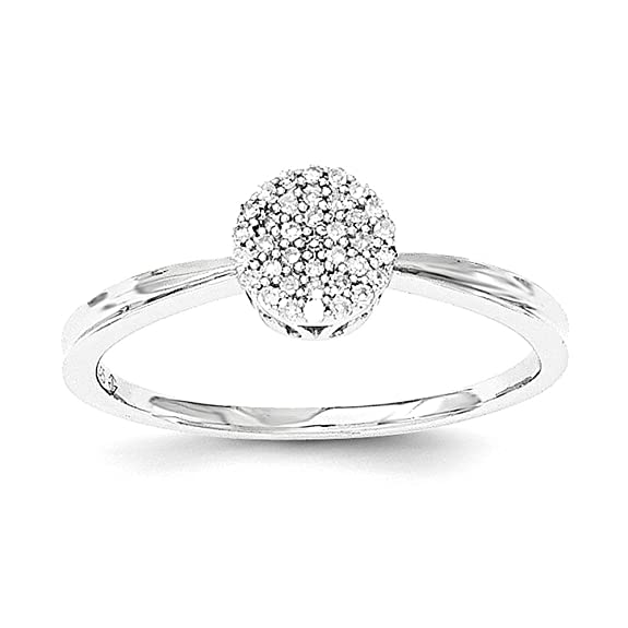 Sterling Silver Polished Round Diamond Ring