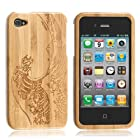 Boriyuan High Quality Handmade Unique The Great Wave Off Kanagawa Natural Bamboo Wooden Hard Case Cover Compatible for Apple Iphone 4 4s, With a Free Screen Protector