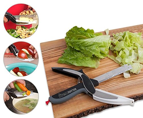 FREE PEELER INCLUDED! Clever Cutter 2-in-1 Food Chopper - Replace your Kitchen Knives and Cutting Boards - stainless steel blades - cuts all type of foods, fruits and vegetables (Meat Box Cutter compare prices)
