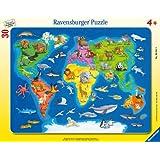 Ravensburger - Weltkarte mit Tieren. Rahmenpuzzle 30 Teile