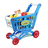 Bingone Mini Shopping Cart Pretend Play Toy Set For Kids, Blue