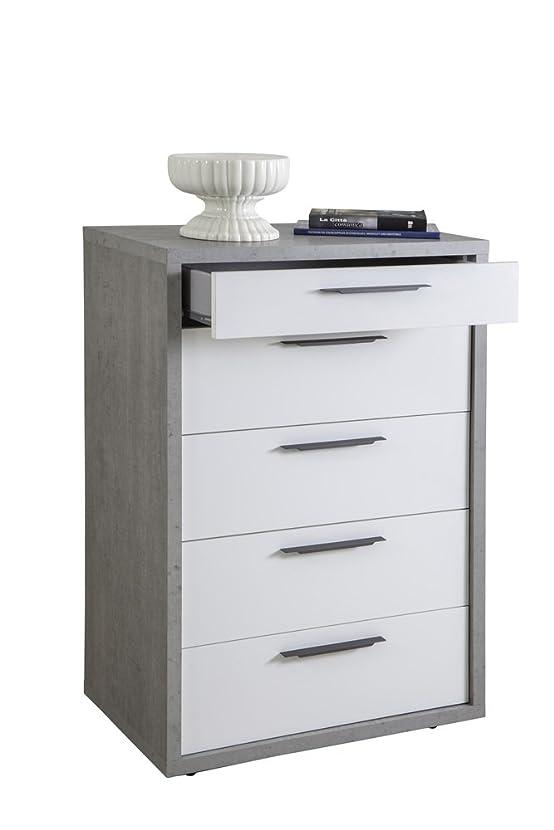 Cassettiera cinque cassetti color cemento e laccato bianco lucido