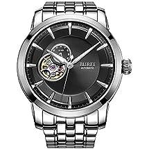 BUREI Men's Skeleton Automatic Wrist Watches Timepieces with Black Dial
