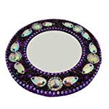 Decorative Indian Handheld Mirror Home Decor Table Top Antique Round Glass Mirror Cosmetic Vanity Purse Pouch Mirror Christmas Gift