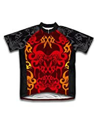 Red Black Tattoo Sheme Short Sleeve Cycling Jersey for Women