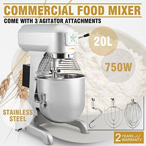 OrangeA Food Mixer Stand Mixer Electric Food Mixer Commercial Grade 20 Quart 1HP 750W Electric Food Dough Mixer 3 Speed Silver Food Processor (20-Quart) (Assistant Mixer compare prices)