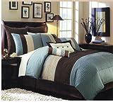 7 PC MODERN BLUE / BROWN /BEIGE COMFORTER SET / BED IN BAG - QUEEN SIZE BED ....