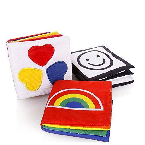Glovion kleines Baby Tuch-Buch Kind Weiches Gewebe Buch Baby Early Education Spielzeug Entwicklungs-Spielzeug [Set von 3 Books]