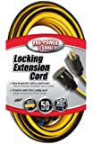 Coleman Cable 02538 12/3 Push-Lock SJTW Locking Extension Cord, Yellow/Black, 50-Feet