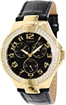 Guess Ladies Watch Gold-tone Black Leather U12564L2 With Crystals