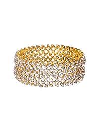 Sheetal Jewellery Silver & Golden Brass & Alloy Bangle Set For Women - B00TIH3KPI
