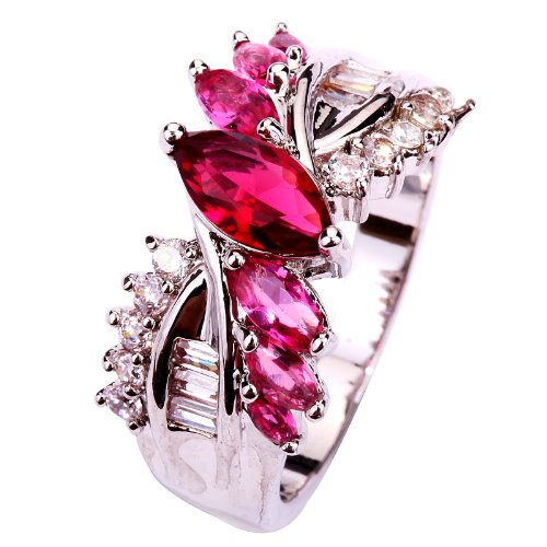 Yazilind Jewelry Marquise Cut Pink Tournaline
