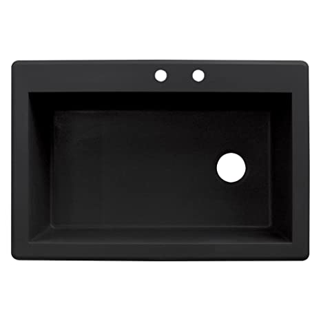 "Radius 33"" x 22"" Drop-in Granite Single Bowl Kitchen Sink Finish: Black, Faucet Drillings: 2 hole"